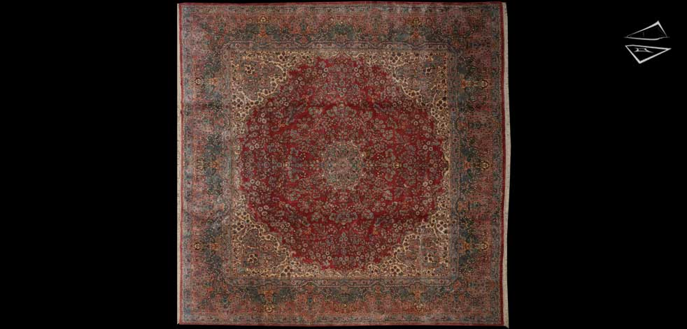 12x12 Persian Kerman Square Rug