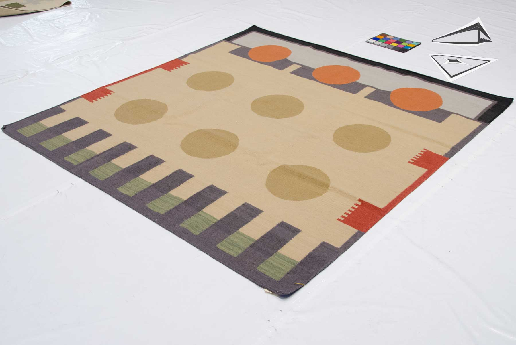 6x 6 Modern Design Kilim Style Square Rug Large Rugs